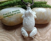 """Tribal Pendant Necklace, """"Mr. Frog"""" Adjustable Wax Cotton Rope, Naturally Organic"""