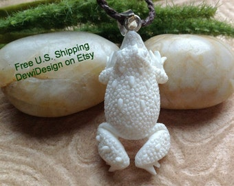 "Tribal Pendant Necklace, ""Mr. Frog"" Adjustable Wax Cotton Rope, Naturally Organic"