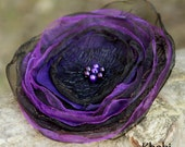 Fabric Flower Brooch Black And Purple Organza and Purple Pearls