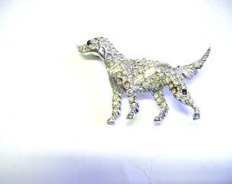 Stunning Vintage Dog With Red Eyes Brooch With Pave Rhinestones And Crystals