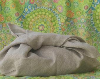 Large natural linen azuma bukuro bag