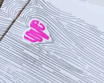 Love woodgrain letterpress cards
