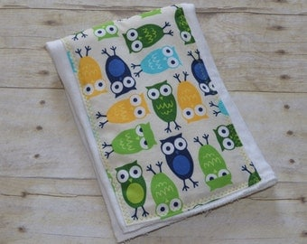 Adorable Owls Baby Burp Cloth in Blues Green and Yellow
