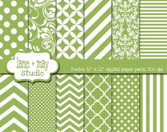digital scrapbook papers - celadon green and white patterns - variety pack - INSTANT DOWNLOAD