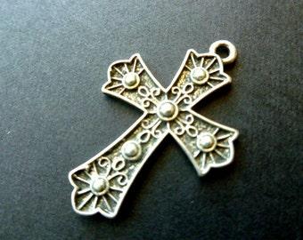 Silvertone Cross Faux Marcasites Fleur di Lis Focal Pendant