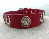 Red Leather Dog Collar with conchos