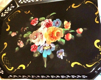 Vintage Metal Tray with hand painted flowers