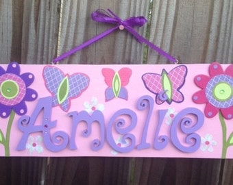 Girls Name Personalized Wall Plaque Sign Any Colors or Theme Baby Nursery, Kids Room