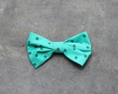 Aqua bow / big hair bow / barrette / women