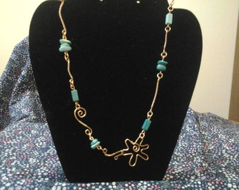 Copper and Blue Beaded necklace