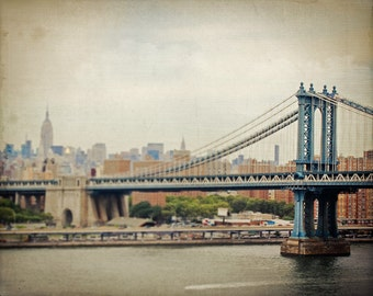 Manhattan Bridge Photo - NYC Photography - Vintage, Dreamy, Blur - New York City Skyline Photo - Vintage NYC Photo