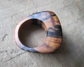 One-Of-A-Kind Black & White Ebony Wood- Wood Ring- Size 5 Ring