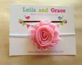 Pink & White Polka Dot Shabby Chic Flower Headband- Baby Headband, Toddler Headband, Newborn Headband, Valentines Day