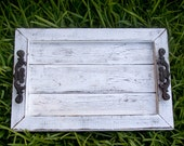 Decorative / Serving Tray - White Distressed