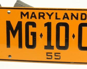 Vintage Orange and Black Bicycle License Plate For Maryland 1955