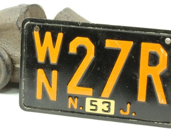 Vintage Black and Orange Bicycle License Plate For New Jersey 1953
