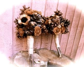 Pine Cone Bridesmaid Bouquet - Rustic Bridesmaid Bouquet - Bridal Wedding Bouquet - Winter Bouquet - Fall Wedding Bouquet