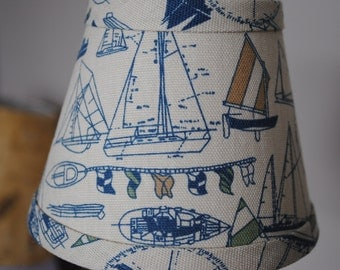 Nautical ship Waverly Topsail chandelier lampshade cream and blue cottage lampshade