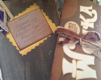 Charlie and the Chocolate Factory party guest book and presentation box