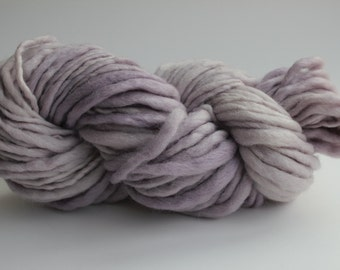 A Drop of Amethyst Color Hand Spun Hand Dyed Thick and Thin Chunky Wool Knitting Yarn