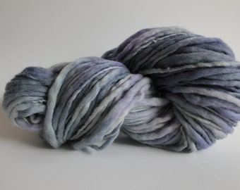 Periwinkle Color Hand Spun Hand Dyed Thick and Thin Chunky Wool Yarn