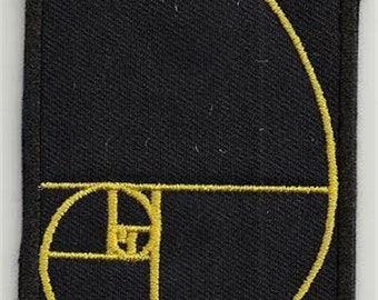 Fibonaci golden spiral in numbers - embroidered patch, BUY3 GET4, 9 X 3 cm.