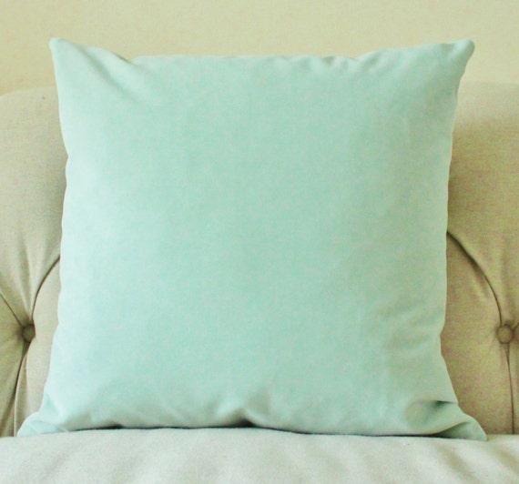 Throw Pillows In Mint Green : Decorative Mint Green Pillow Mint Green Velvet Pillow Cover