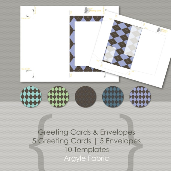 Argyle Fabric Greeting Card & Envelope Templates Print At Home
