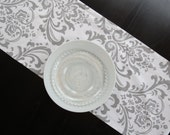 Damask Table Runner in Grey & White Traditions