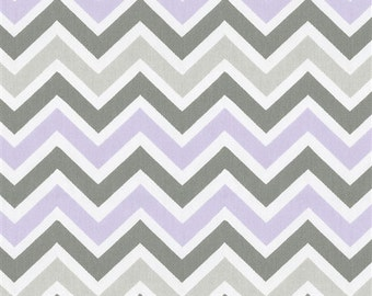 Lilac Purple, White, and Slate Gray Chevron Table Runner