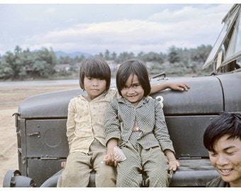 Vietnam 1969 Vintage Photograph, Two Children on Army Vehicle 12x8