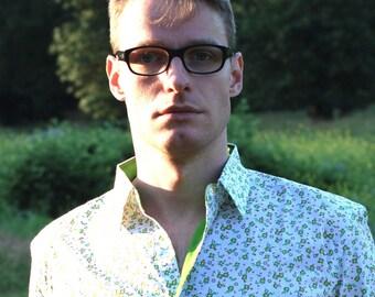 Men's shirt green flower print with block colour inside collar, cuffs. Long sleeves 100% cotton