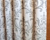 WINTER SALE ⋘ One Pair Designer Curtain Panels 24W or 50W x 63, 84, 90, 96 or 108L Traditions Damask Storm Grey White shown