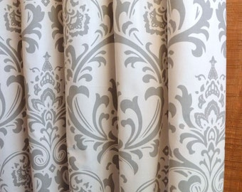 SUMMER SALE! Curtains, Designer Curtain Panels 24W or 50W x 63, 84, 90, 96 or 108L Traditions Damask Storm Grey White shown