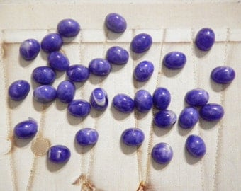 24 Lucite 10x8mm Blue Marble Cabochons