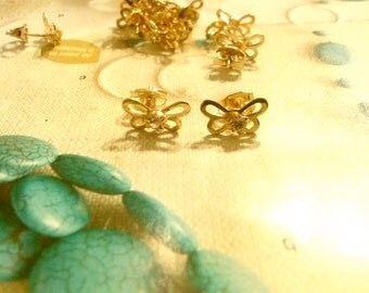 6 Prs. of Goldplated Butterfly Earrings with Rhinestone