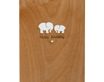Elephant Birthday Card (made from real wood)