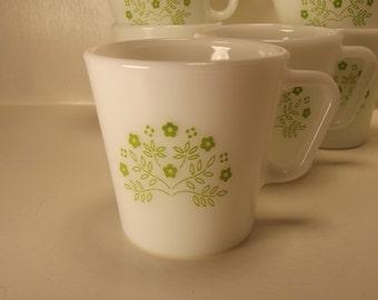VINTAGE PYREX Lime Green Flowers Coffee Cup MUG Milk Glass