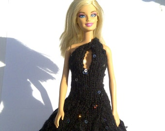 Barbie clothes - Black Sequined Gown OOAK