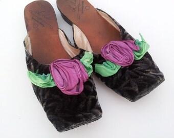 Viictorian Velvet Rose 'Lila' Goody Goody Vintage slide-on slipper loafer shoes sz 7
