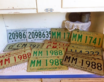 16 Vintage Metal Illinois License Plates  B100