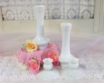 2 Vintage White or Milk Glass Candle Holders and 2 Vintage White or Milk Glass Tall Bud Vases  B44