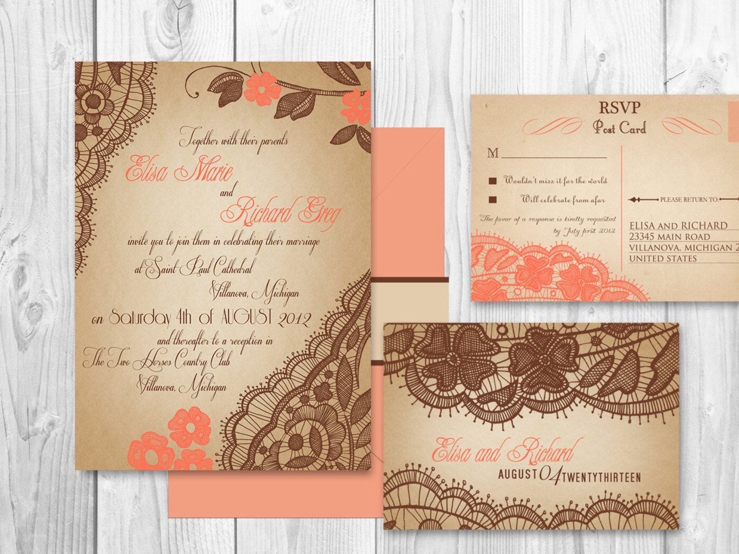 Coral Wedding Invitations: WEDDING INVITATIONS PRINTABLE Lace Coral By DesignedWithAmore