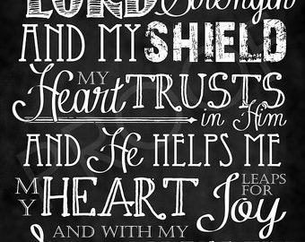Scripture Art - Psalm 28:7 Chalkboard Style