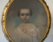Antique 19th C Oil Painting on Canvas Portrait Baby Child Picture Neoclassical