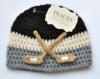 Hockey Baby Hats - Black, White & Gray Hockey Beanie Hat (Baby Hat Baby Hats Baby Gifts  Newborn Hat Crochet Baby Hat Newborn Hats)