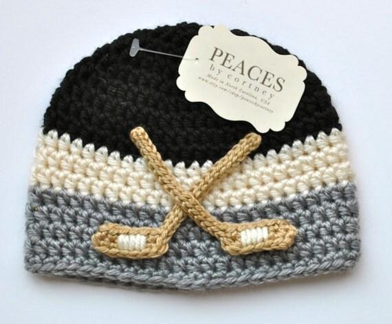Free Crochet Pattern Baby Hockey Skates : Hockey Baby Hats Black White & Gray Hockey Beanie Hat Baby