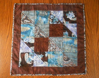 Table Topper Made With Blue, Turquoise And Brown, Quilted Table Topper
