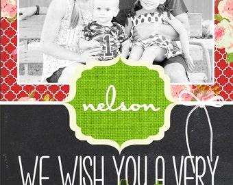 Custom Chalkboard and Shabby Chic Photo Christmas Cards