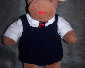 Hand Knitted School pinafore and Tie to fit Build a Bear